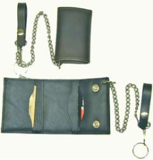 Men's Leather Trifold Chain Wallet
