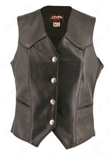 Basic Silver Dime Leather Vest