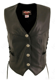 Laced Side Biker Vest With Mercury Dime Snaps