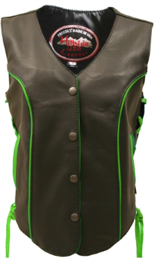 Leather Biker Vest With Lime Green Trim