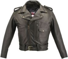 D Pocket Biker Leather Jacket