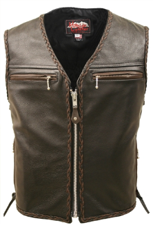 The Elite Motorcycle Leather Vest With Black & Brown Braiding
