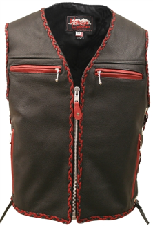 The Elite Motorcycle Leather Vest With Black & Red Braiding