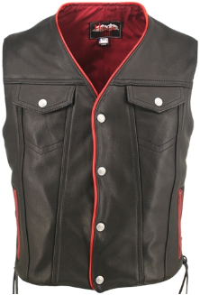Denim Style Lace Side Red Trim Leather Vest