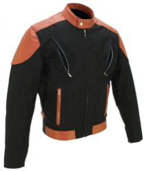 Vented Leather & Cordura Black On Orange Motorcycle Jacket