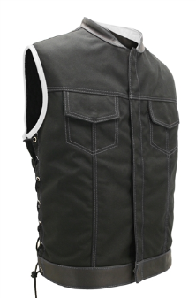 SOA Style Side Lace Black On White Cordura Vest
