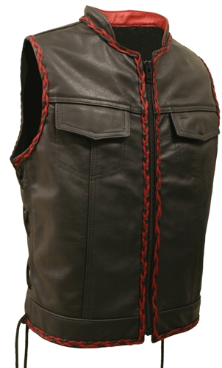 SOA Style Side Lace Stand-up Collar Leather Vest With Black and Red Braiding