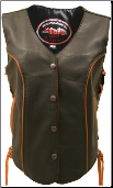 Leather Biker Vest With Orange Trim