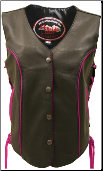 Leather Biker Vest With Pink Trim