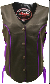 Leather Biker Vest With Royal Purple Trim