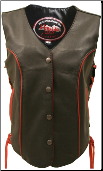Leather Biker Vest With Red Trim