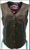 Leather Biker Vest With Turquoise Trim