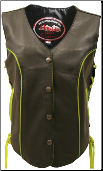 Leather Biker Vest With Yellow Trim