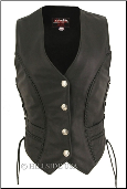 Braided Leather Vest With Mercury Dime Snaps