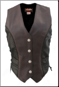 Braided Black & Brown Vest With Mercury Dime Snaps