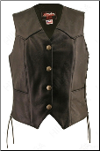 Lace Side Leather Vest With Mercury Dime Snaps