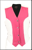 Women's Pink & White Leather Vest