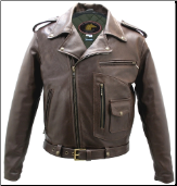 Brown D Pocket Horsehide Motorcycle Jacket