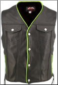 Denim Style Lace Side Lime Green Trim Leather Vest