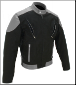 Vented Leather & Cordura Black On Grey Motorcycle Jacket
