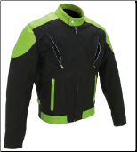 Vented Leather & Cordura Black On Lime Green Motorcycle Jacket