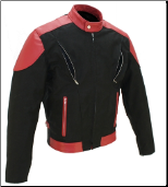 Vented Leather & Cordura Black On Red Motorcycle Jacket