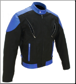 Vented Leather & Cordura Black On Royal Blue Motorcycle Jacket