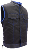 SOA Style Side Lace Black On Royal Blue Cordura Vest