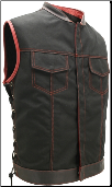 SOA Style Side Lace Black On Red Cordura Vest